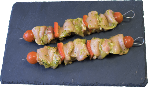 Chicken leg wild garlic marinated skewer